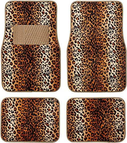 Animal Car Floor Mats (BDK Carpeted 4 Piece Mat Leopard Animal Print Auto Car Vehicle Universal Fit (Beige))