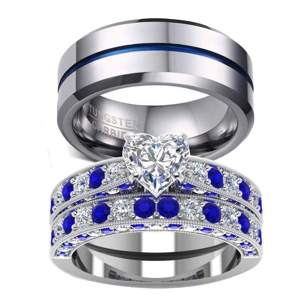 Wedding Ring Set Two Rings His Hers Couples Matching Women's 2pc White Gold Filled Heart Cz Engagement Bridal Sets Men's Tungsten Carbide: Gles Chagne Wedding Rings At Websimilar.org