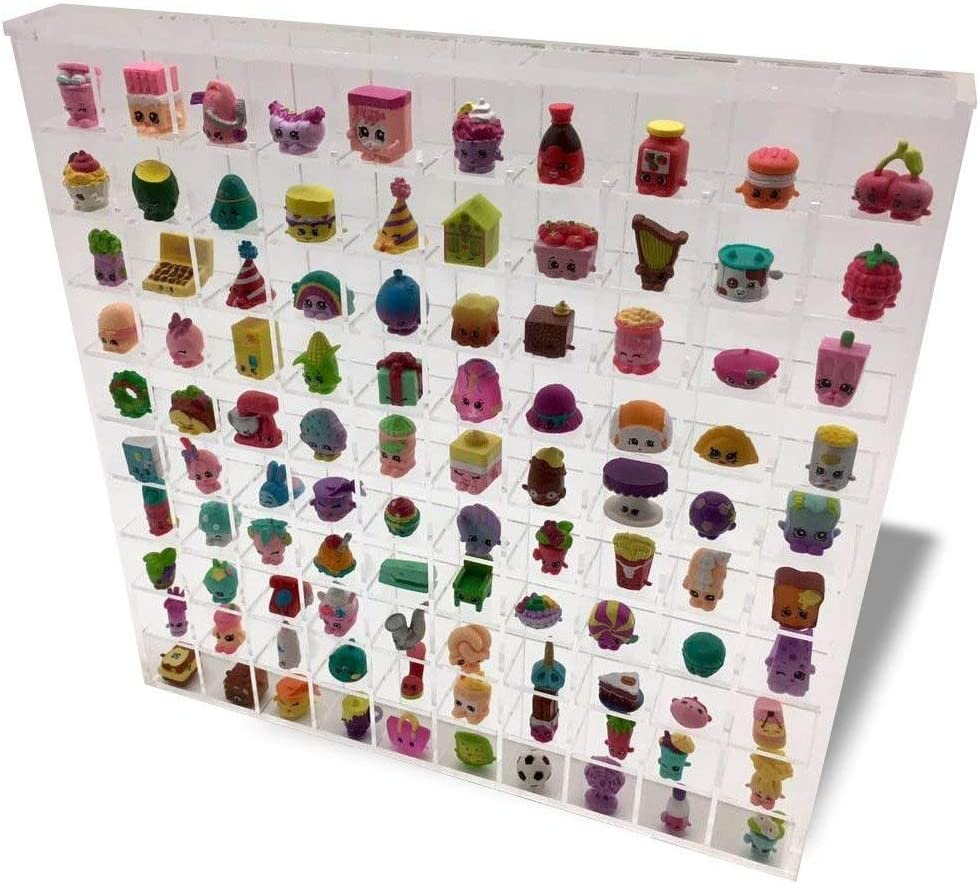 Shopkins Display Wall Hanging Acrylic Showcase for Collectibles 100 Openings Compatible with Shopkins, Mini Figures, Thimbles