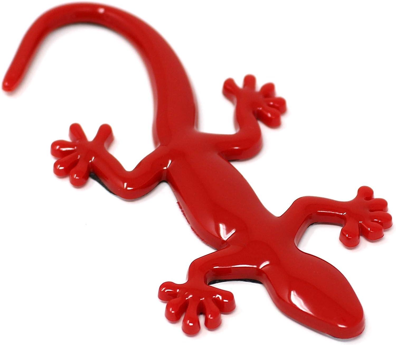 Schwarz, Hinterteil gekr/ümmt 3D Emblem Gecko mit Schaumstoff Kleber/ückseite