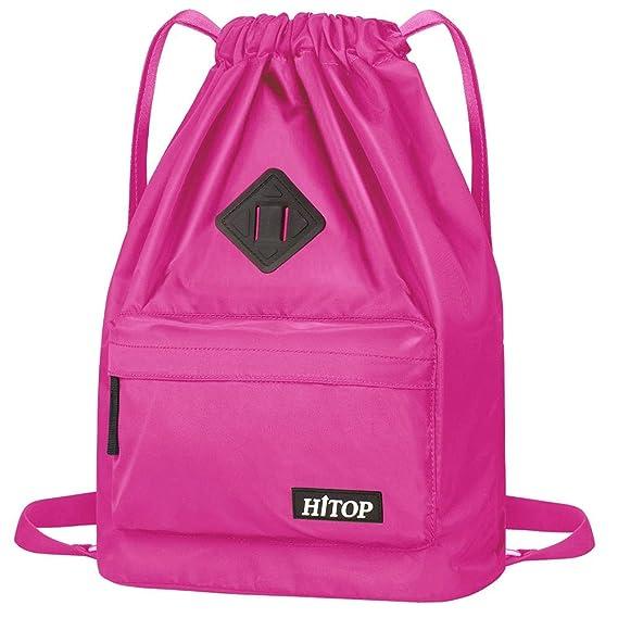 HITOP - Bolsa deportiva de cordón, ligera, unisex; mochila saco, mochila para hombre y mujer., Rosa roja: Amazon.es: Deportes y aire libre