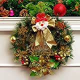 Christmas Garland for Stairs fireplaces Christmas Garland Decoration Xmas Festive Wreath Garland with 30cm Christmas wreath Golden Christmas Vine