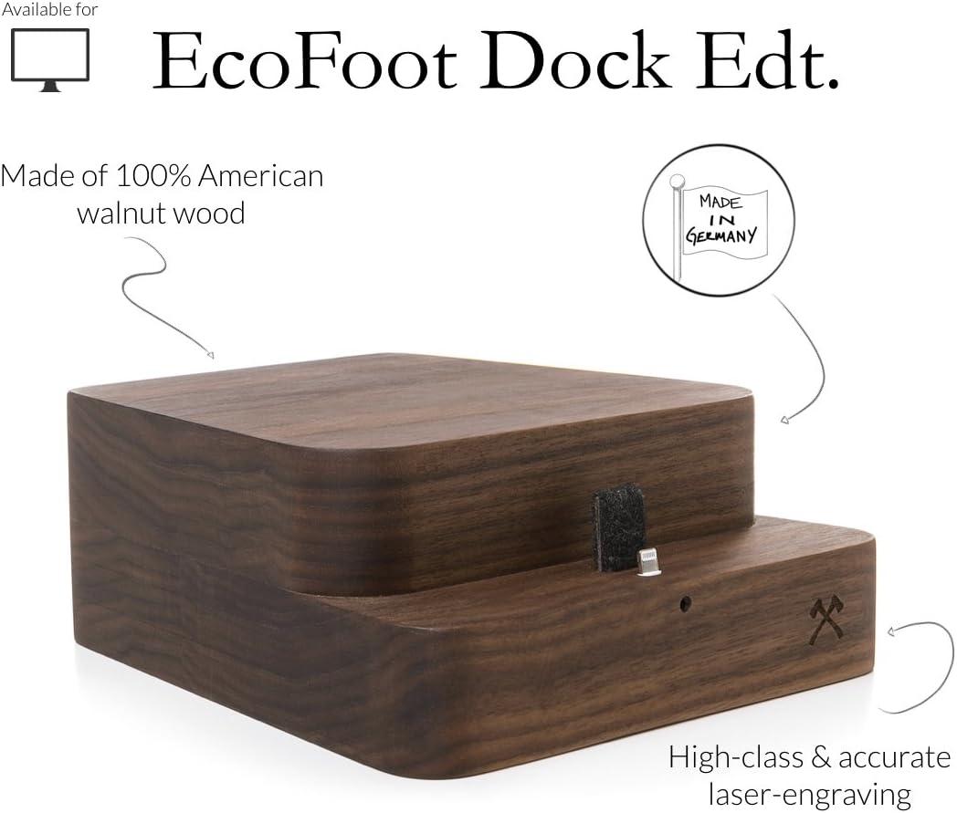 Woodcessories - Lever avec Base de Chargement pour iPhone Compatible avec iMac, EcoFoot Dock (Noix/iMac 21,5