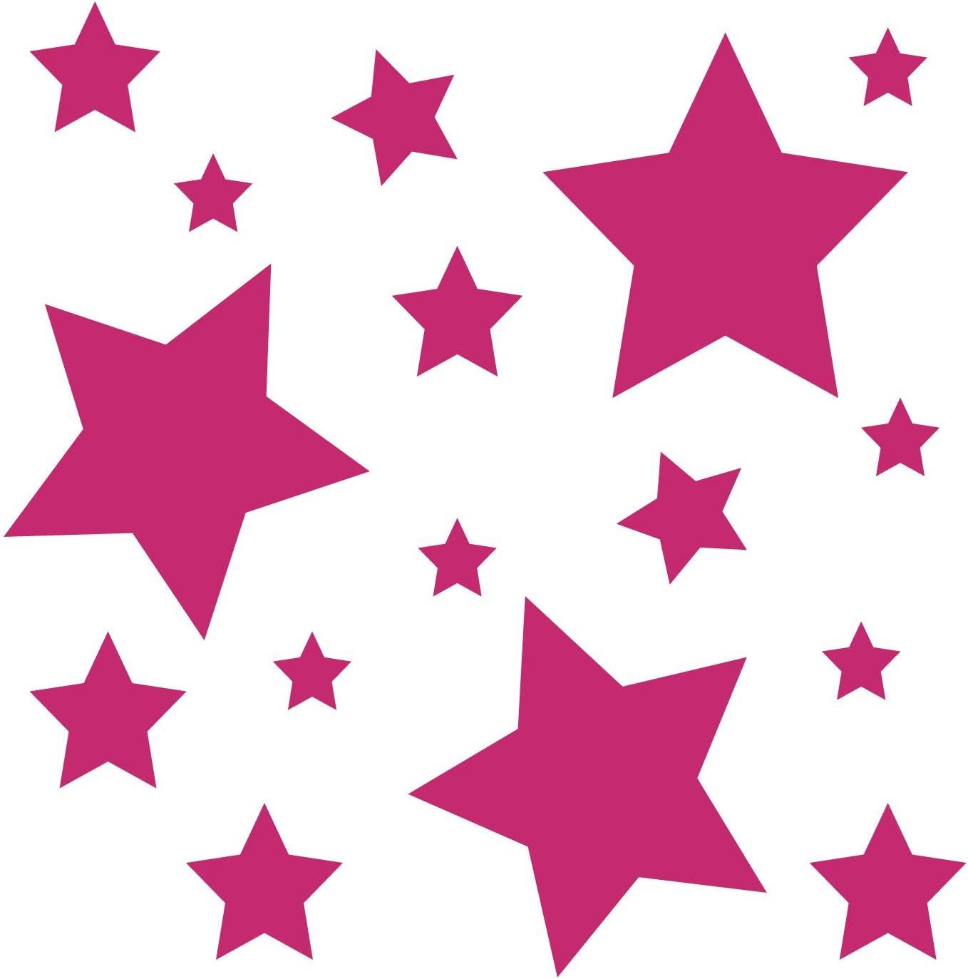 Kleb Drauf 18 Sterne Pink Matt Autoaufkleber Autosticker Decal Aufkleber Sticker Auto Car Motorrad Fahrrad Roller Bike Deko Tuning Stickerbomb Styling Wrapping Auto