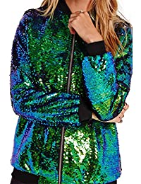 Women's Mermaid Sequin Lightweight Zipper Bomber Jacket