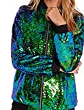 HAOYIHUI Women's Mermaid Sequin Lightweight Zipper Bomber Jacket(M,Green)