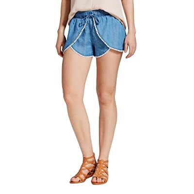 3Hearts Women's (Juniors') Faux Wrap Pom Pom Dolphin Fashion Shorts (Large, Denim Blue) at Women's Clothing store