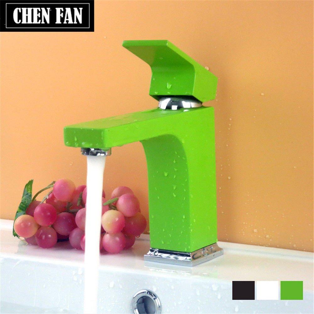 Küche Wasserhahn Kommerzielle massiv Messing Warmes und kaltes Wasser Waschbecken Waschtisch Armatur grüne Tippen