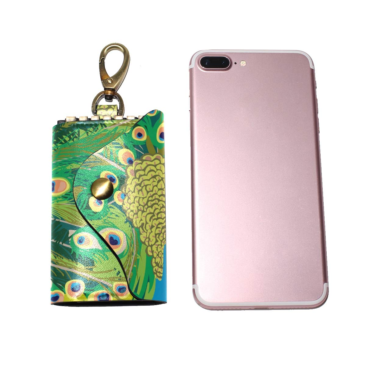 KEAKIA Peacock Painting Leather Key Case Wallets Tri-fold Key Holder Keychains with 6 Hooks 2 Slot Snap Closure for Men Women
