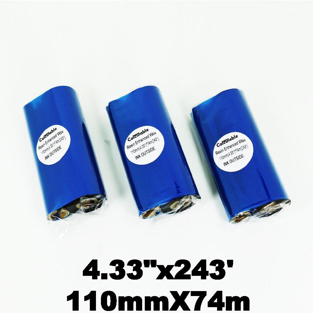 Thermal Transfer Wax Ribbon for Zebra Desktop Printer,TEC,DATAMAX,INTERMEC,Avery,Citizen,SATO,TSC,GODEX,ARGOX,BEIYANG,POSTEK 64mmx450m Calculable Black 2.52 x 1476