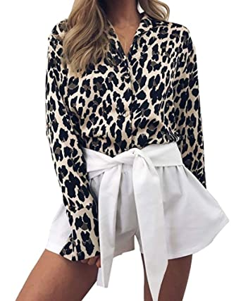 216501131e6c Women Casual Long Sleeve Leopard Print Collar Shirt V-Neck Button Down Simple  Blouse Tops