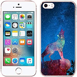 Zonecase for iPhone 5 / 5S / SE Case - Space Galaxy Wolf Crystal Clear Transparent Shock Absorption with Full Flexible Protection TPU Gel Case