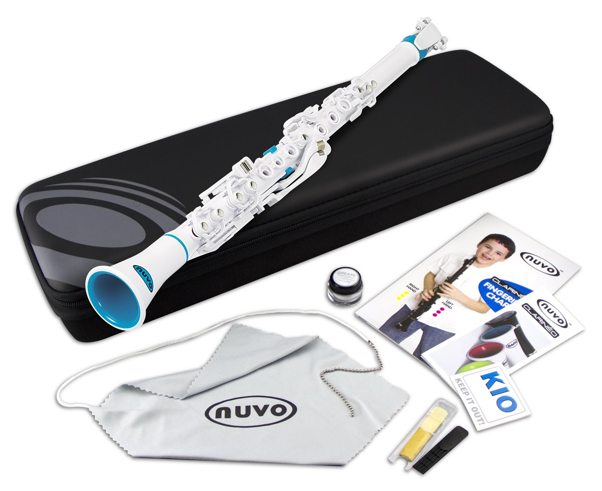 Nuvo N100CLBK Clarineo Kit with Case and Accessories - Black with Stainless Steel Collars Nuvo Instrumental-(Asia) Ltd.