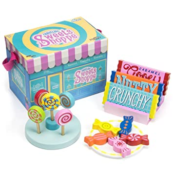 Amazoncom Wooden Take Along Play Sweets Shop 14 Assorted Pieces
