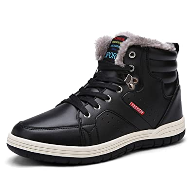 Mens Snow Boots Leather Fur Lined Lace Up Ankle Sneakers Non-slip Winter Warm Shoes