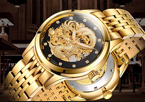 KDJSTORE Luxury Men's Skeleton Automatic Mechanical Wrist Watch Dragon Stainless Steel Band (Gold Band)
