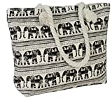 Canvas Tote Bag, Shoulder Tote, Perfect for School, Work, or the Beach, Large Compartment, I Love Elephants Theme, 17 x 12 - Multiple Colors (BLACK)