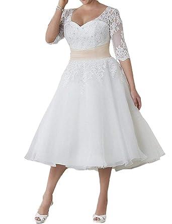 Amazon.com: Tea Length Wedding Dresses Half Sleeve Bridal ...