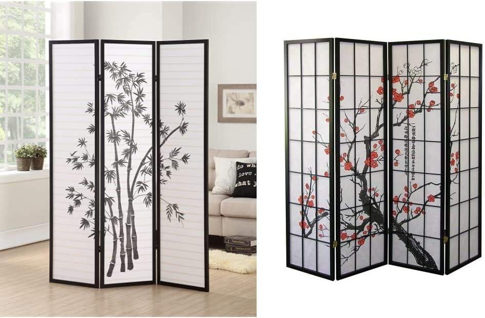 Roundhill Furniture 3-Panel Oriental Shoji Room Divider Screen, Black & Furniture Black Japanese 4-Panel Screen Room Divider, Plum Blossom