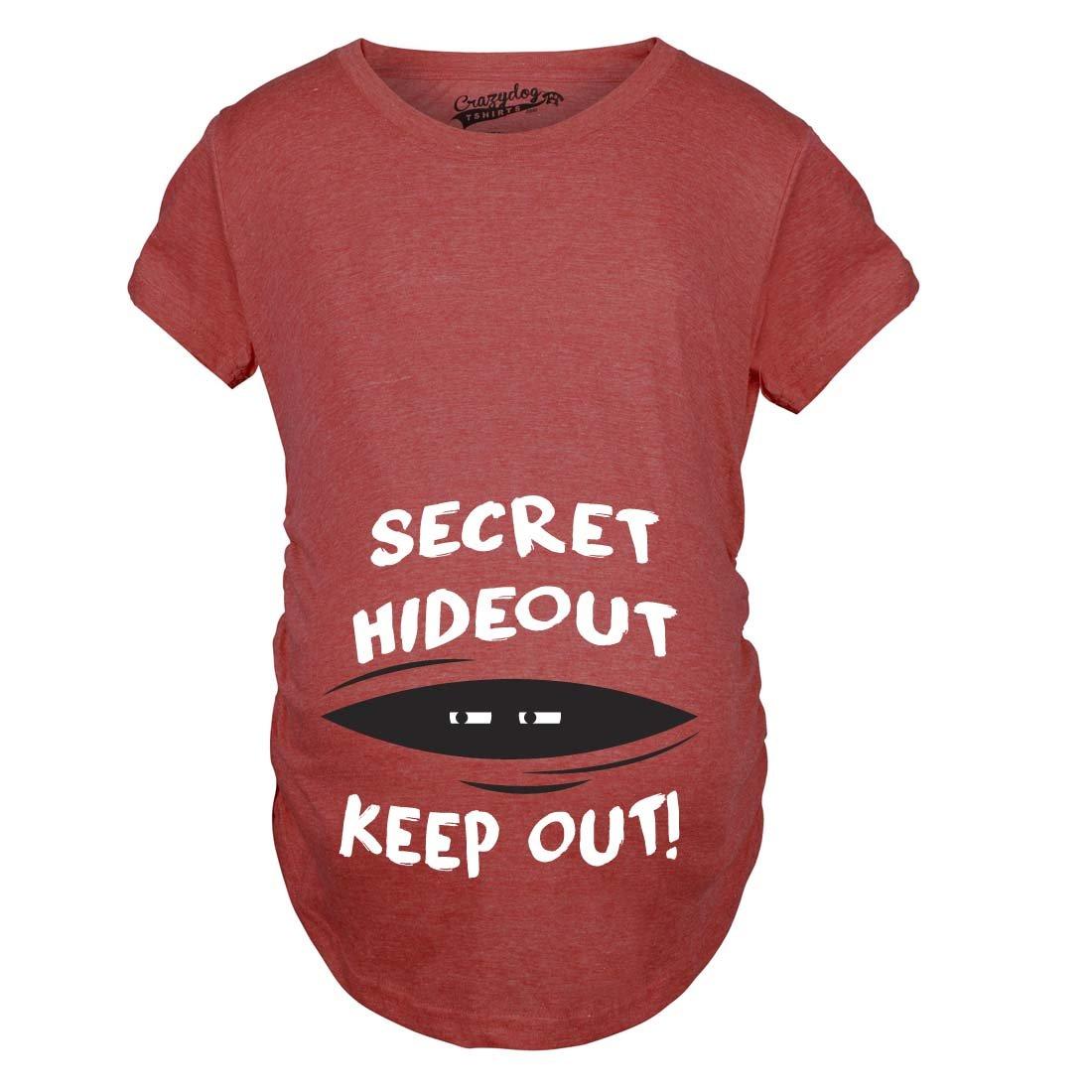 Maternity Secret Hideout Baby Peeking Maternity Shirt Funny Pregnancy Shirts Crazy Dog Tshirts 015SecretHideMAT