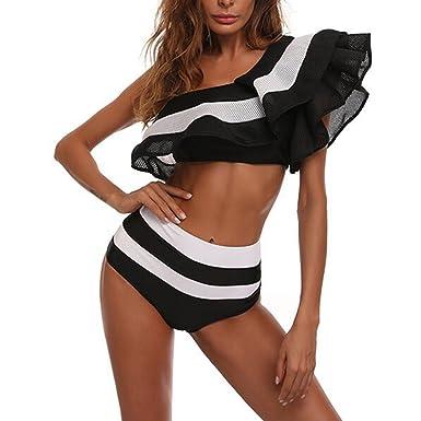 723dc4a465 Amazon.com: LIGICKY Women's Flounce Falbala One Shoulder Swimsuit High  Waisted Ruffle Stripe Two Piece Bikini Set Bathing Suit: Clothing