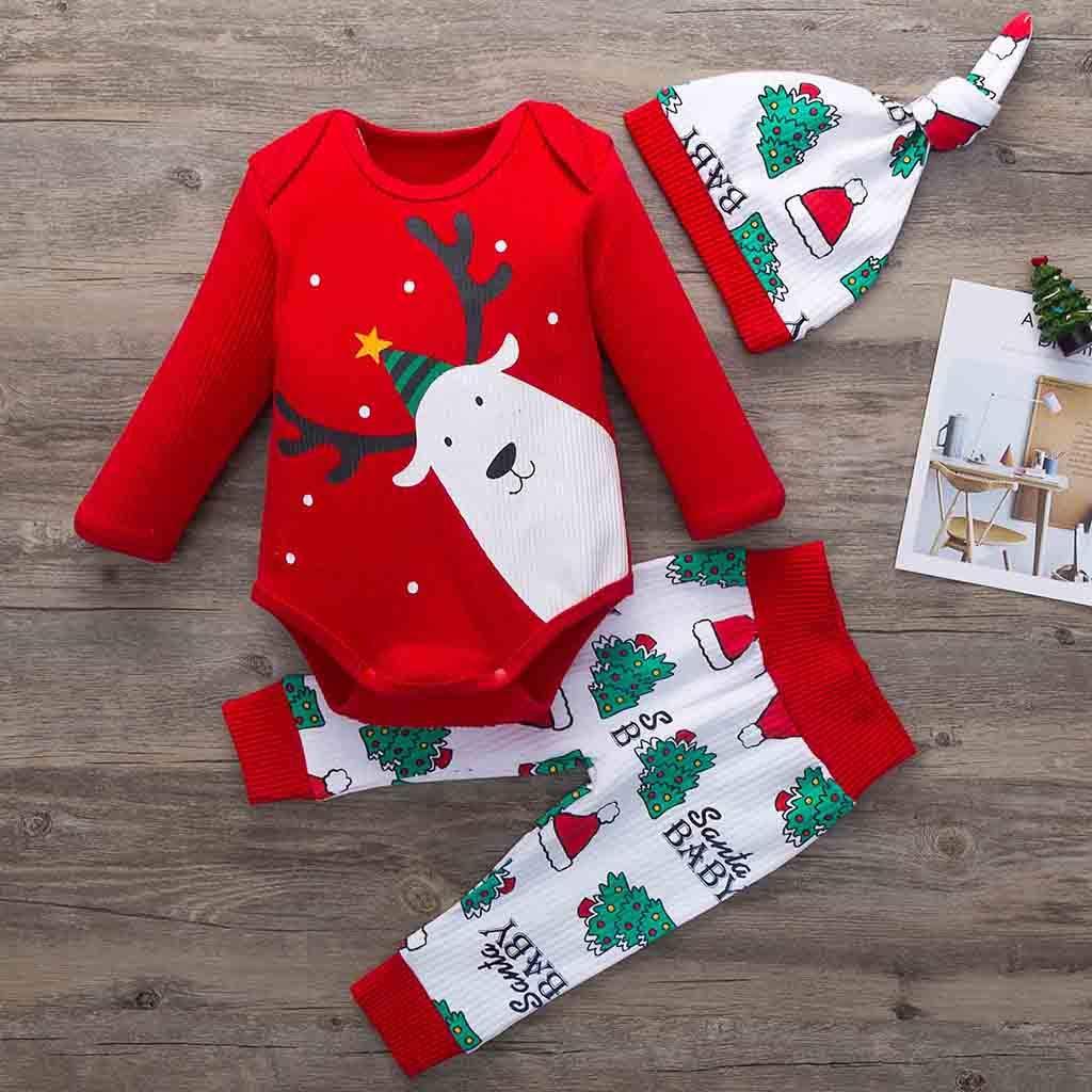 Tomatoa 3Pcs Newborn Baby Christmas Santa Clothes Set Xmas Toddler Newborn Infant Baby Boy Girl Deer Long Sleeves Romper Tops+Pants+Hat Outfits Pajamas