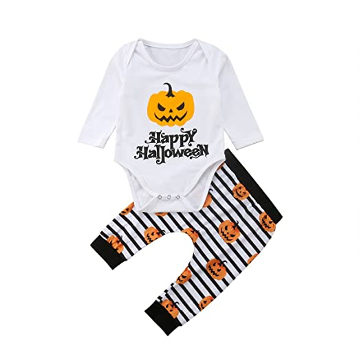 a1b18c1df52 Happy Halloween Outfits Clothes Baby Boys Girls Long Sleeve White Pumpkin  Bodysuits Rompers Stripes Pants Outfits