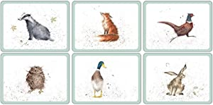 SET OF 6 OWL BADGER HARE DUCK PHEASANT FOX HEAT RESISTANT CORK BACKED PLACEMATS