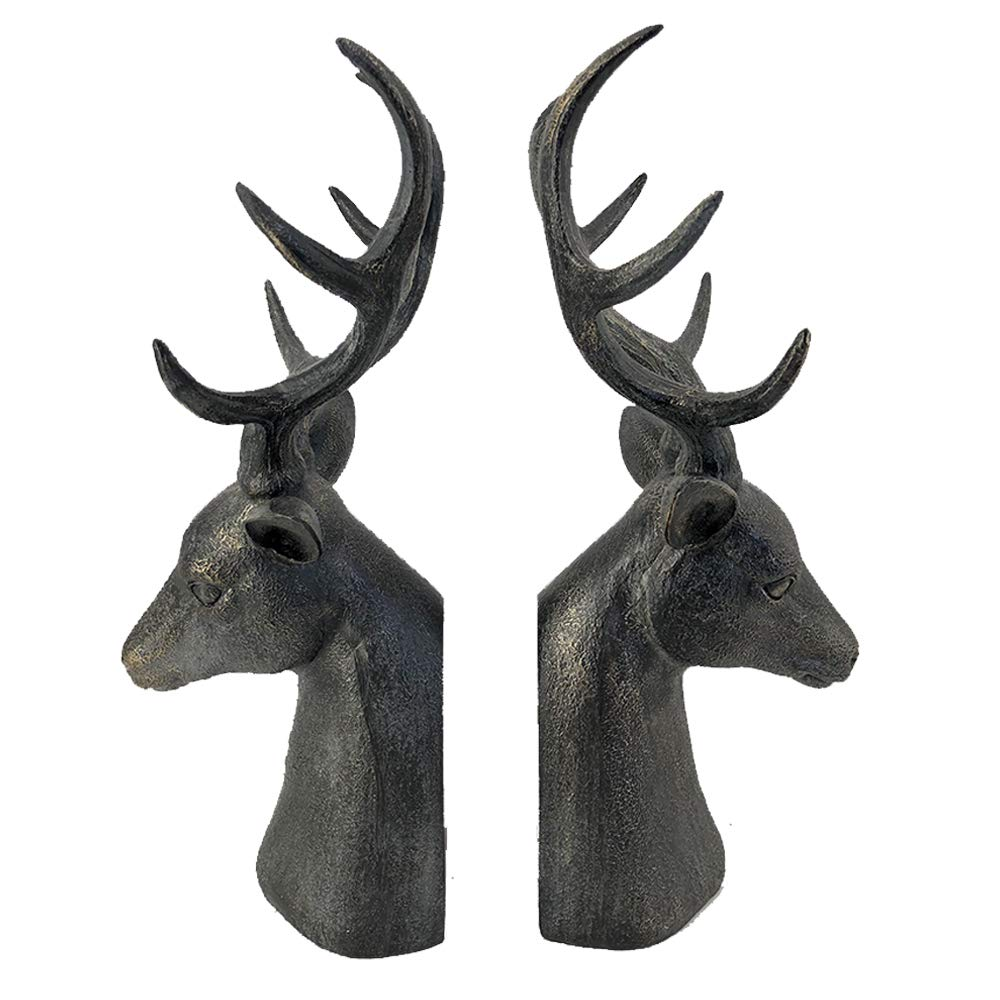 Comfy Hour Resin Set 2 Deer Head Bookends Art Bookends Solid Heavy Weight, Black