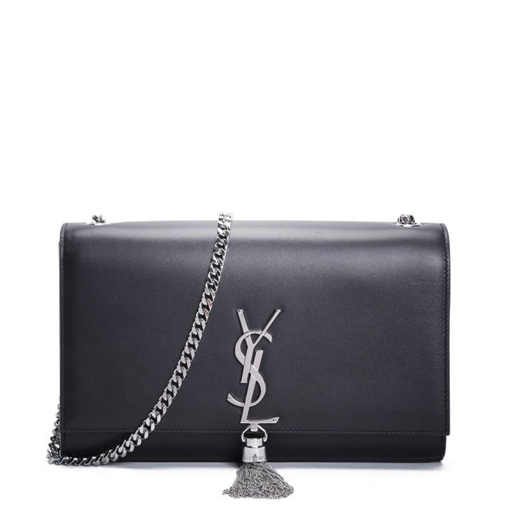 Silver Lucy YSL Women's Classic Plain gold Chain Shoulder Bag (Made in France)