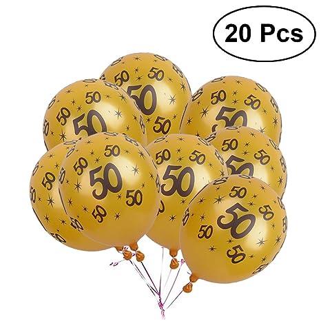Yeahibaby Palloncini 50 Anni Compleanno Lattice Decorazioni Compleanno 20 Pezzi Oro