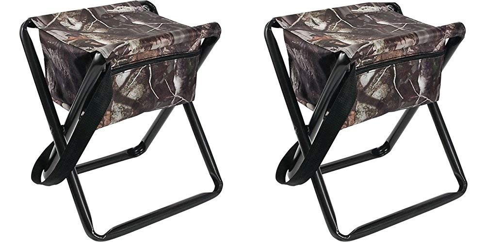 Allen Collapsible Folding Stool w/Storage Pouch, NextCamo (Pack of 2)