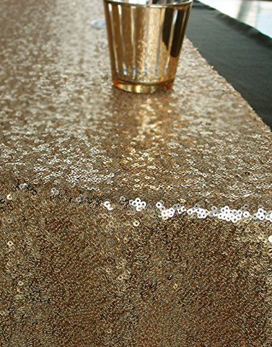 QueenDream Gold Table Runner 14x80 inches Gold Table Runner Wholesale Sequin Runner