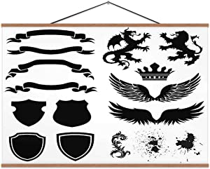 Hoveniacis Shield Designs Shield,Hanging Posters Dragon for Decor 24x12in