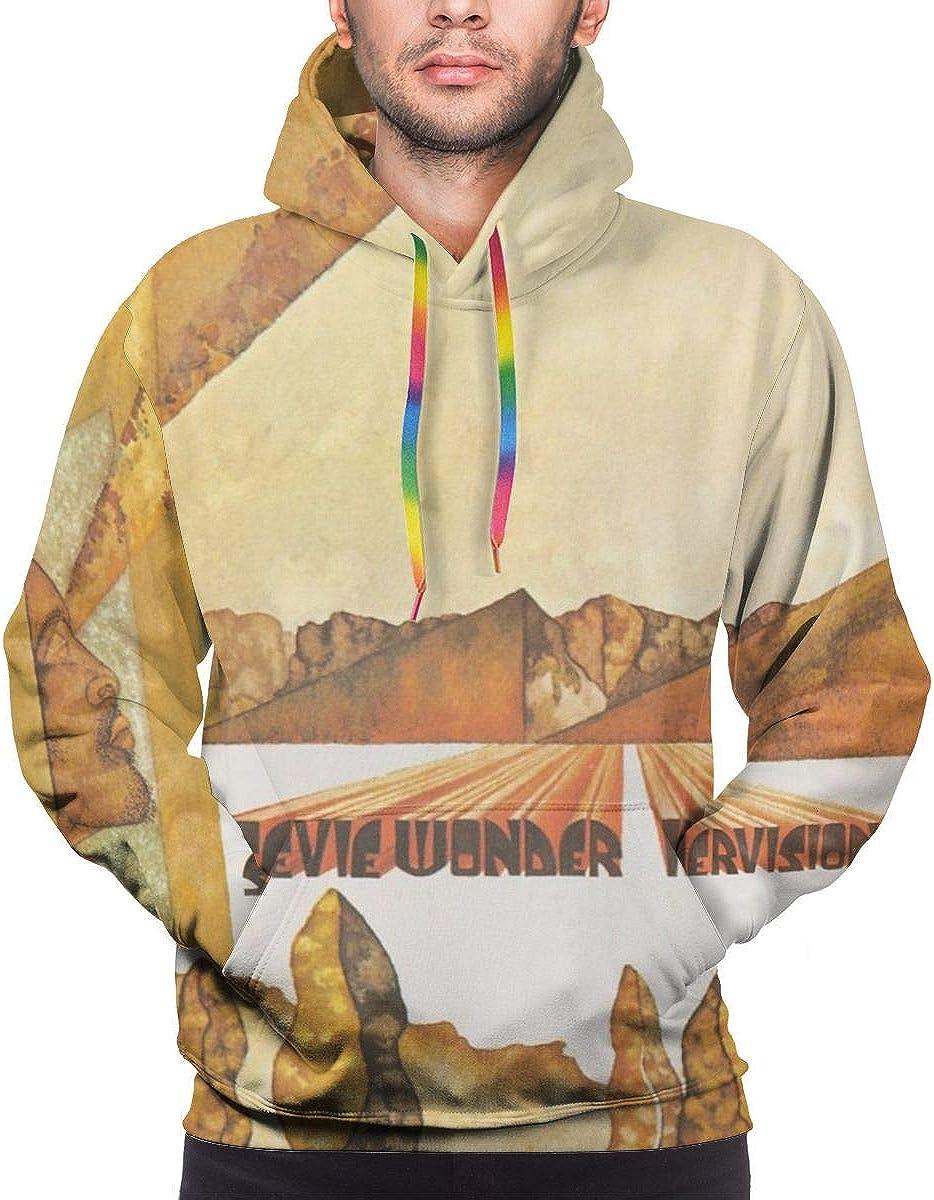QLCDFAQQKN Stevie Wonder Innervisions Remastered Man Sweater Fashion Long Sleeve Pocket Hooded Sweatshirts Black