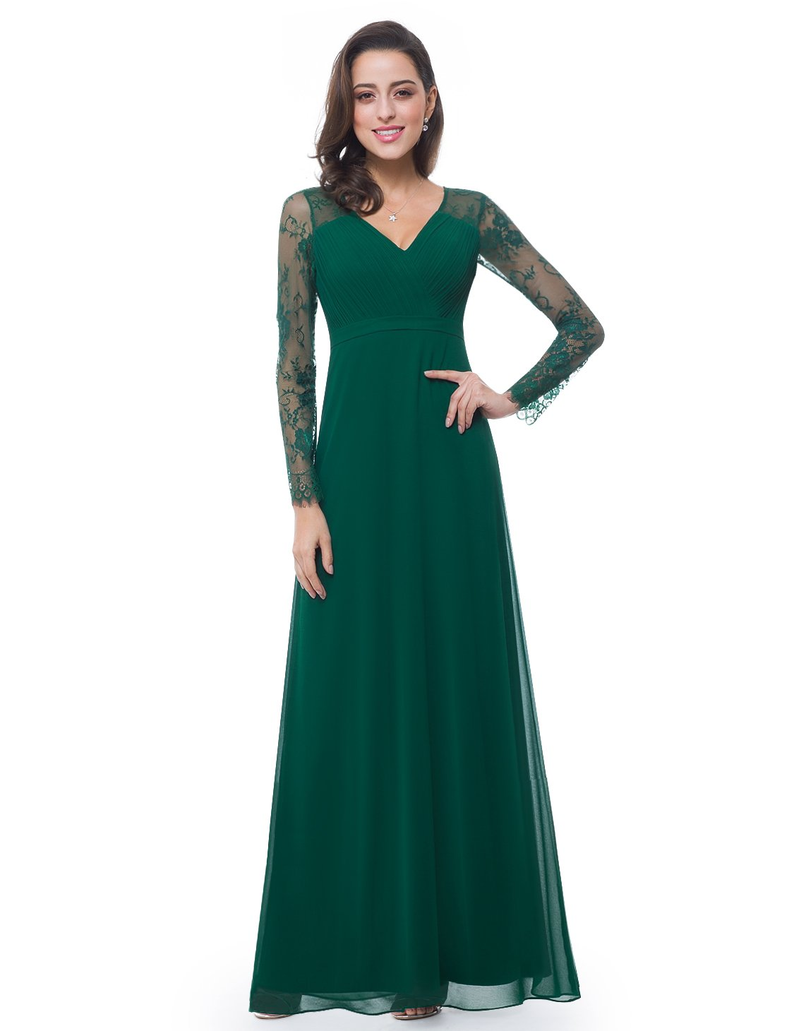 Ever-Pretty Womens V-Neck Ruched Bust Floor Length Eveing Dress 6 US Dark Green