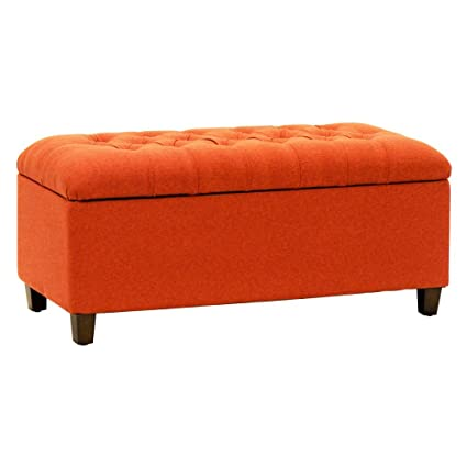 Merveilleux HomePop Storage Entryway Bench; Orange / Red