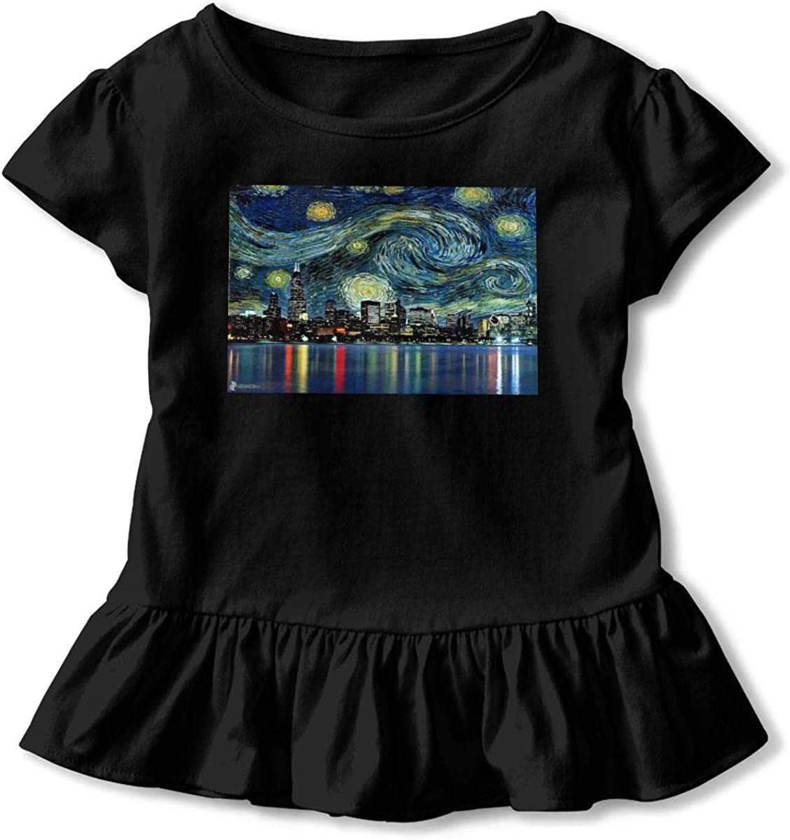 Starry Chicago Night Oil Painting Toddler Girls Short Sleeve T-Shirt Ruffles Cotton Tops for 2-6 Years Old Baby