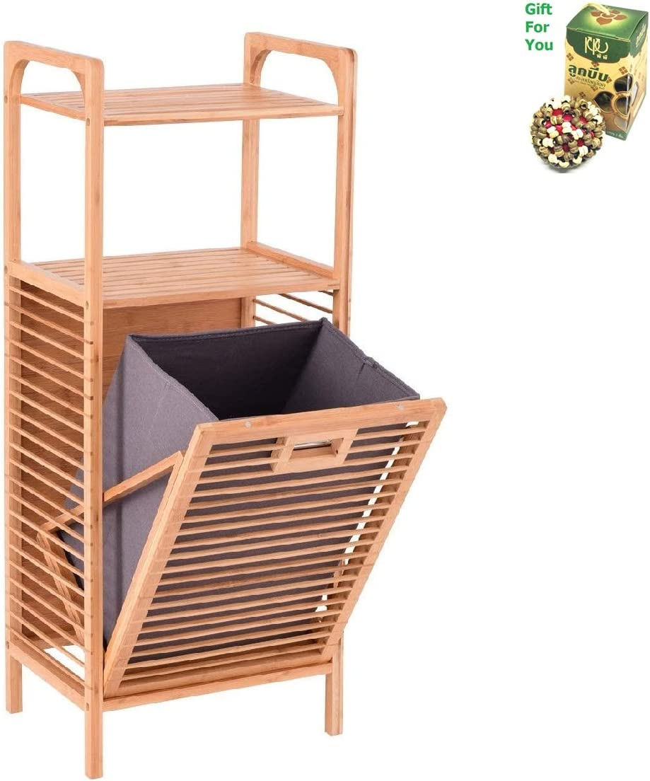 COSTWAY Tilt Out Bamboo Shelf Slat Frame Storage Laundry Hamper by SpiritOne + Gift Coconut Shell Massage Ball