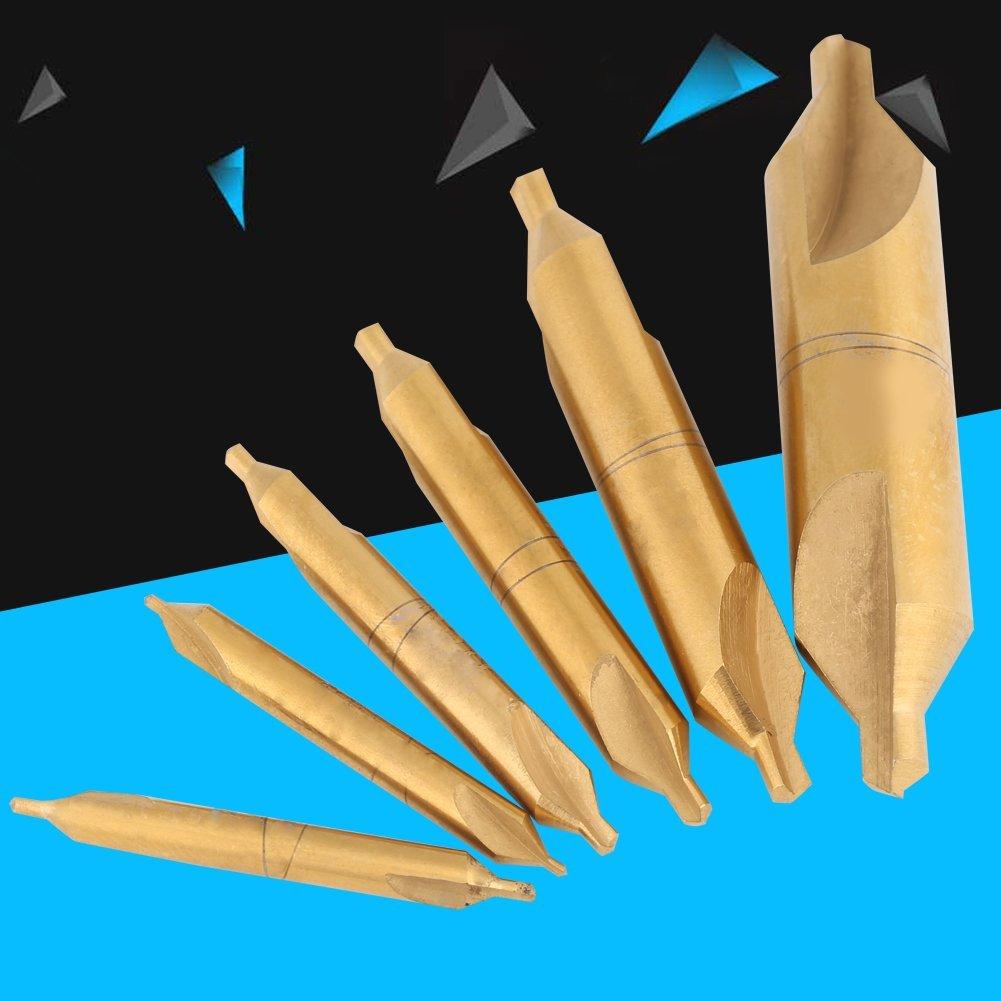 60 Degree HSS High Speed 1//1.5//2//2.5//3//5mm Center Drill Titanium Coated Countersink Drill Bit Kit 6 Pcs