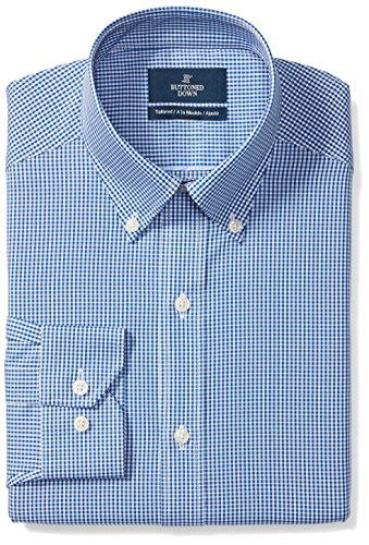 Buttoned Down Men's Tailored Fit Button-Collar Pattern Non-Iron Dress Shirt, Blue Gingham, 18.5