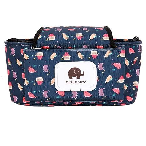 Cochecito Organizador con portavasos - animal linda Toallitas Dispensador - cochecito ligero Bolsa - Mini bolsa