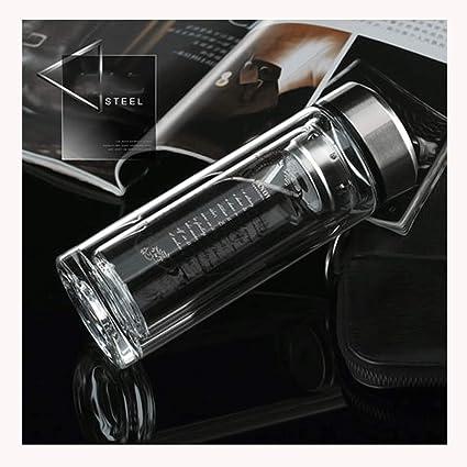 Taza de viaje de vidrio doble infusor de té con filtro | Botella de vaso de ...