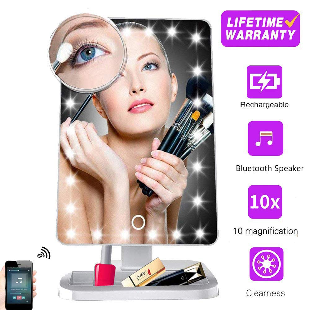 Makeup Mirror with Lights and Bluetooth,Vanity Mirror with 20 LED, Adjustable Brightness, Detachable 10x Magnification,Girl Lighted Up Cosmetic Mirror, Rechargeable (White)