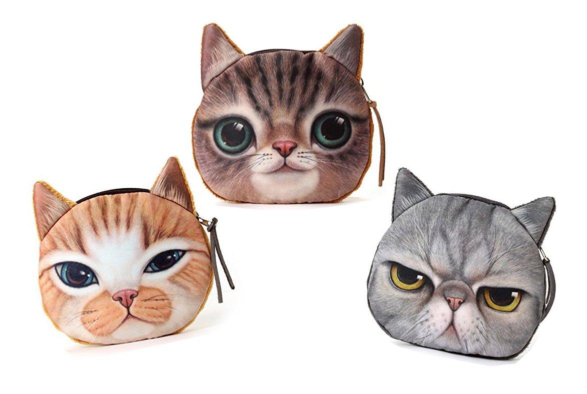 Ai-life Multi-funktion 3D Gesicht Tier Niedlich Katze Gesicht Rei/ßverschluss Fall M/ünzengeldbeutel Brieftasche Beutel Damen Geldtasche Kosmetische Makeup Tasche