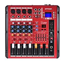 ammoon Digital Bluetooth 4-Channel Mixer Mixing Console 2-band EQ with 48V Phantom Power USB Interface for Recording DJ Stage Karaoke Music Appreciation