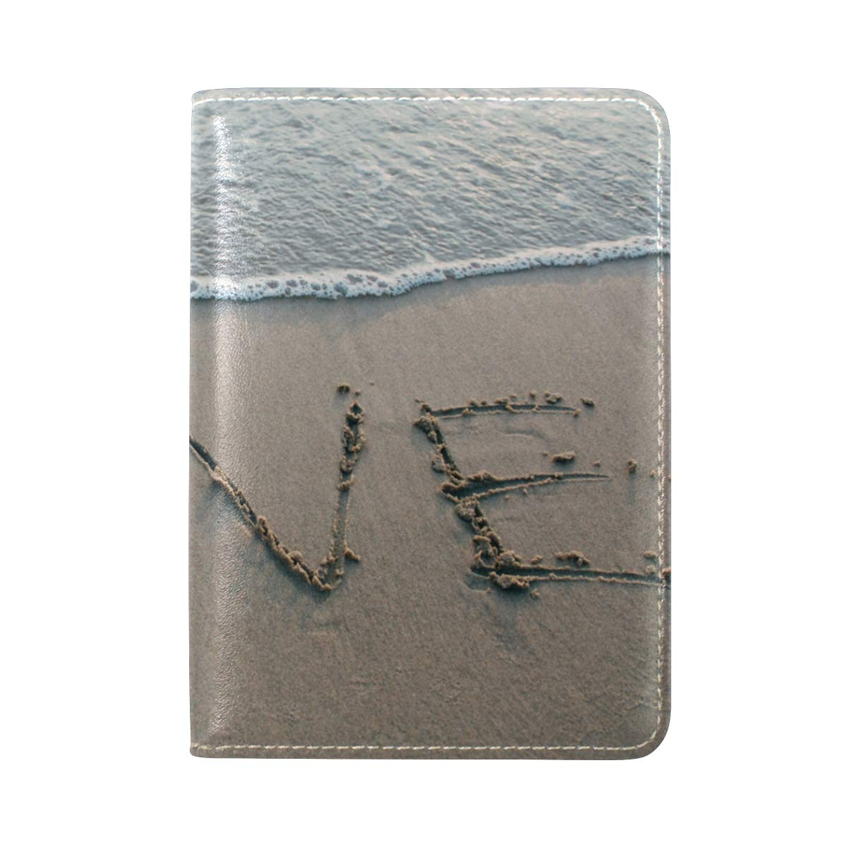 Beach Coast LOVE One Pocket Leather Passport Holder Cover Case Protector for Men Women Travel