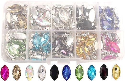 50 x Mixed Coloured TEARDROP Acrylic Rhinestones Embellishments Gems 9x18mm