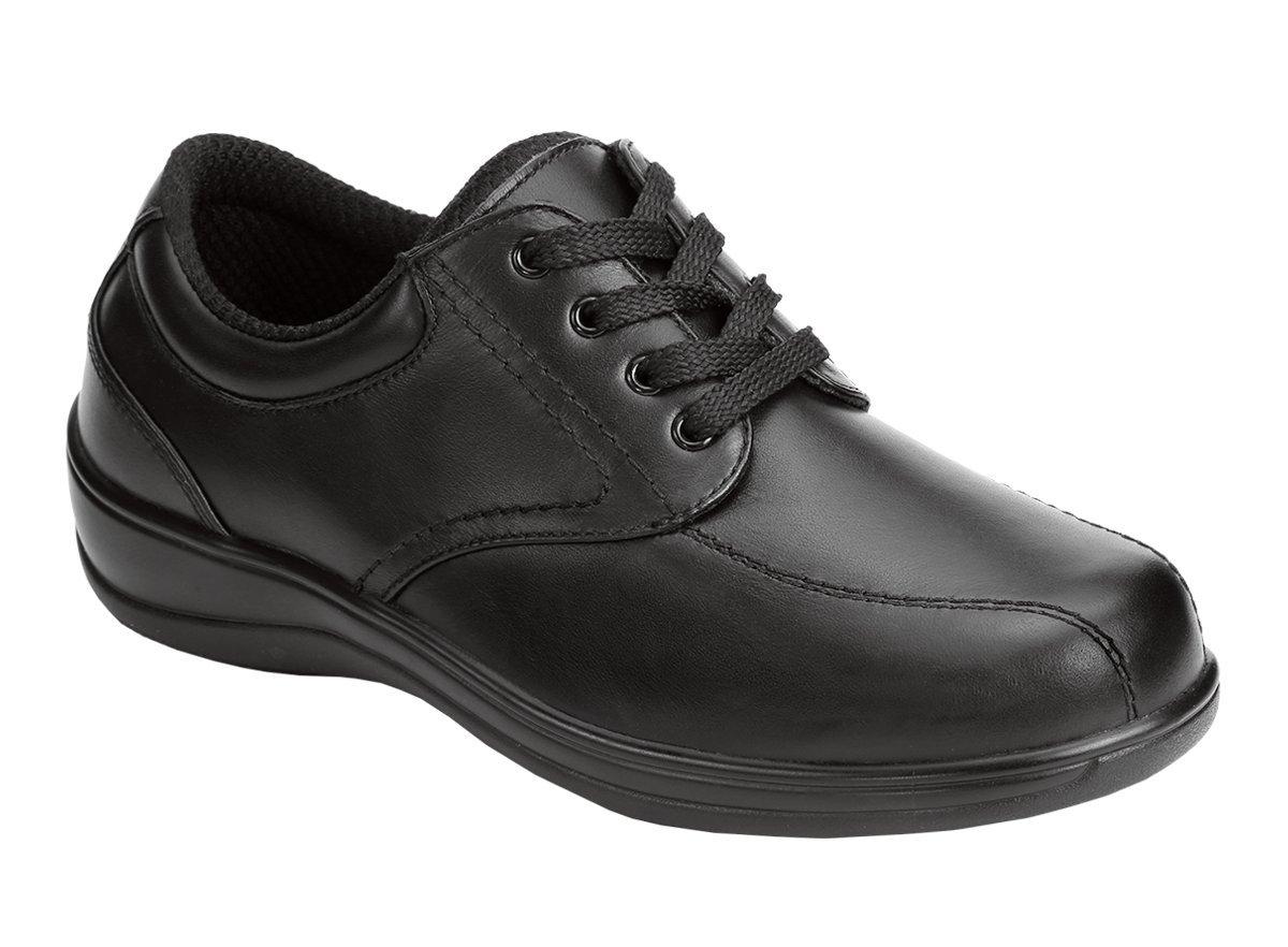 Orthofeet Lake Charles Cmofort Orthopedic Plantar Fasciitis Diabetic Womens Walking Shoes Black Leather 8 M US