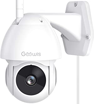 Security Camera Outdoor, Goowls 1080P Pan/Tilt 2.4G WiFi Home Smart Security Surveillance IP Camera Wired with Waterproof Night Vision 2-Way Audio Motion Detection Cloud Camera Works with Alexa